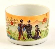 Zsolnay Porcelán Teás Csésze, Gésás Jelenettel, Jelzett, Kopásnyomokkal, M: 5,5 Cm, D: 8,5 Cm - Ceramics & Pottery