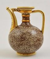 Cca 1890 Zsolnay Díszkancsó, Tiger Mázas, Kézzel Festett, Elmosódott Márka Jelzéssel, Formaszám:763, Kopott Aranyozással - Ceramics & Pottery