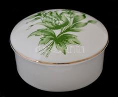 Hollóházi Porcelán Zöld Virágmintás ékszertartó Doboz, Matricás, Jelzett, Hibátlan, D: 7 Cm, M: 3 Cm - Ceramics & Pottery