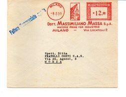 1955 Affrancatura Meccanica Rossa EMA Freistempel Milano Dott. Massimiliano Massa Materie Prime Per Industrie - Affrancature Meccaniche Rosse (EMA)
