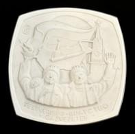 Hollóházi Testvériség Gázvezeték, Biszkvit Porcelán Plakett, Jelzett, Kopott, 15×15 Cm - Ceramics & Pottery