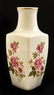 Hollóházi Rózsa Mintás Váza, Matricás, Jelzett, Hibátlan, M:24,5 Cm - Ceramics & Pottery