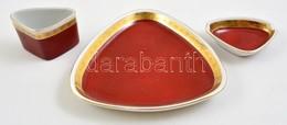 Hollóházi Porcelán Asztali Készlet, 3 Db, Kopott, Jelzett, 8×6- 15×15 Cm - Ceramics & Pottery
