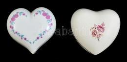 Hollóházi és Aquincumi Szív Alakú Bonbonier, Matricás, Jelzett, Kopott, 9×10 Cm (2×) - Ceramics & Pottery