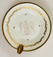 Limoges-i Porcelán Hamutartó Fém Szerelékkel, Kopott, D: 12,5 Cm - Céramiques