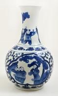 XX. Sz. Cheng Hua Jelzésű Kínai Váza, Máz Alatti Kézi Festéssel, Hibátlan, M:29,5 Cm - Céramiques