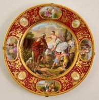 Victoria Austria Mitológiai Jelenetes Falitál, Matricás, Jelzett, Kopott Aranyozással, D: 32 Cm - Ceramics & Pottery