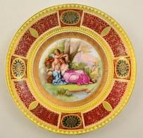 Victoria Austria Mitológiai Jelenetes Falitál, Matricás, Jelzett, Kopott Aranyozással, D: 30 Cm - Ceramics & Pottery