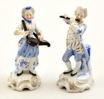 Sitzendorf Zenészpár, Kézzel Festett, Javított, Jelzett, M:11,5 Cm (2×) - Ceramics & Pottery