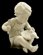 Rosenthal Kisfiú Madárral, Bisquit Porcelán, Jelzett, Hibátlan, M: 11 Cm - Ceramics & Pottery