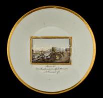 Cca 1820  Gotha Dísz Tálka, Kézzel Festett 'Ansicht Der Saalbrücke Des Geleithauses Und Gamsdorf'  Tájképpel, Jelzett, K - Ceramics & Pottery