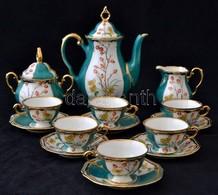 Bavaria Mokkás Készlet, Kézzel Festett(utólag), Jelzett, Egyik Csészealjon Csorbával - Ceramics & Pottery