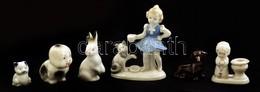 6 Db Különféle Porcelán Nipp Figura, Kézzel Festettek, Kettő Jelzett, Apró Kopásokkal, Különböző Méretben - Céramiques