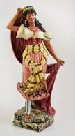 Jelzett (BB) Táncoló Nő, Kézzel Festett, Sérült, Kopott, M: 35 Cm - Ceramics & Pottery
