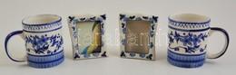 Virágmintás Bögre, 2 Db + Virágmintás Képkeret, 2 Db, 10×8 Cm - Céramiques