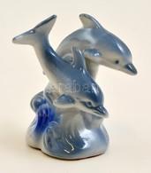 Delfin Pár, Festett, Jelzés Nélkül, Hibátlan, M: 11 Cm - Ceramics & Pottery