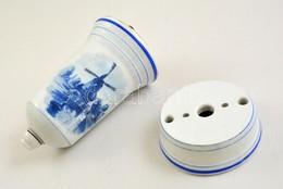 Hajómintás Porcelán Lámpatest, Jelzett, Gyári Repedésekkel, Hibákkal, M: 20,5 Cm, D: 9,5 Cm - Ceramics & Pottery