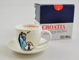 'Croatia' Matrózos Porcelán Csésze és Alj, Matricás, Jelzett, A Tál Alján Minimális Lepattanással, Eredeti Dobozában - Ceramics & Pottery