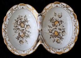 Dupla Kínálótál, Jelzés Nélkül, Kézzel Festett, Kopott, 32×23 Cm, M:12 Cm - Ceramics & Pottery