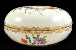 Antik Virágmintás Bonbonier, Kézzel Festett, Jelzett, Kopásnyomokkal, D: 18 Cm - Ceramics & Pottery