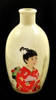 Kisméretű Japán Váza, Kézzel Festett, Jelzett, Apró Kopásokkal, M: 12,5 Cm - Ceramics & Pottery