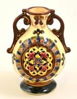 Áttört Füles Váza, Kézzel Festett Porcelán Fajansz, Márkajelzés Nélkül, Formaszámmal (357), M:12,5 Cm - Ceramics & Pottery