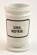Ung Refrig, Porcelán Gyógyszertári Tégely, Tető Nélkül, M: 15 Cm - Ceramics & Pottery