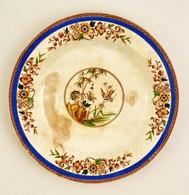 Porcelán Dísztányér, Részben Kézzel Festett, Jelzett, Fém Tartóval, D: 34,5 Cm - Ceramics & Pottery