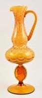 Muranoi Fújt Díszkancsó, Több Rétegű Borostyánszínű,  üvegszál Díszítéssel, Jelzés Nélkül, Hibátlan, M:39 Cm - Verre & Cristal