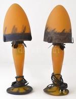 Dekoratív Asztali Lámpa Párban, Burán Apró Csorbákkal, Jelzés Nélkül, Több Rétegű Fújt, Fém Szerelékkel, M: 45 Cm (2×) - Verre & Cristal