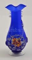 Gazdagon Díszített Fúj Váza, Plasztikus Rátétekkel, Jelzés Nélkül, Karcolással, M: 24 Cm - Verre & Cristal