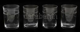 14 Db üveg Pohár, Csiszolt, Csorbákkal, Kisebb Karcolásokkal, M: 8 Cm és 10 Cm Közötti Méretben - Verre & Cristal