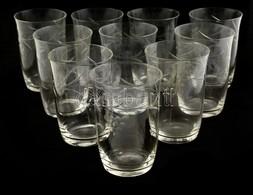 12 Db üveg Pohár, Csiszolt, Apró Csorbákkal, Karcolásokkal, M: 10 Cm és 12 Cm Közötti Méretben - Verre & Cristal