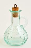 Zöldeskék üveg Olajtartó, Parafa Dugóval, Hibátlan, M: 12 Cm - Verre & Cristal