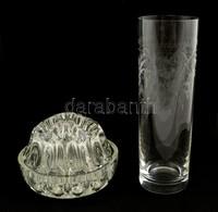 3 Db üvegtárgy: Váza, Pohár, Asztali Tartó, Jelzés Nélkül, Hibátlanok, Különböző Méretben - Verre & Cristal