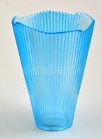 Kék üvegváza, Hibátlan, M: 17 Cm - Verre & Cristal