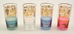 Aranyozott Színes üvegpoharak, 4 Db, Hibátlanok, M: 13,5 Cm - Verre & Cristal