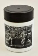 Gyógyszertári Tégely, Tejüveg, Matricás, Műanyag Tetővel, D: 8,5 Cm - Verre & Cristal