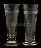 Régi 2 Dl-es Sörös Poharak, Kopásnyomokkal, M: 16,2 Cm - Verre & Cristal