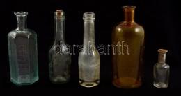 5 Db Gyógyszertári üveg, Különböző Méretekben, Kopásnyomokkal - Verre & Cristal