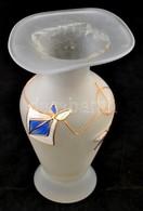 Art Deco Stílusú Homokfújt üveg Váza Aranyozott, Festett. 18 Cm - Verre & Cristal