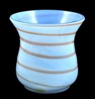 Csíkos Kék üvegváza, Száján Apró Csorbával, M: 11 Cm - Verre & Cristal