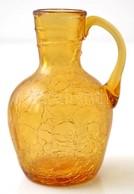 Sárga Kraklé üveg Kis Kancsó, Apró Csorbákkal, M: 13 Cm - Verre & Cristal