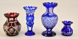 Csiszolt üveg Vázák ( 4db), Apró Csorbákkal, M: 10-21 Cm - Verre & Cristal