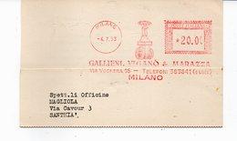 1953 Affrancatura Meccanica Rossa EMA Freistempel Milano Gallieni, Viganò & Marazza Valvola Idraulica - Affrancature Meccaniche Rosse (EMA)