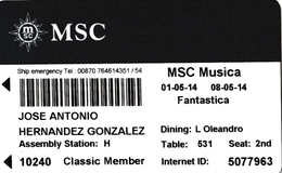 ITALY, CRUISER CABIN KEY CARD. MSC MUSICA. YEAR 2014. (026). - Hotel Keycards