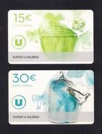 2  Carte Cadeau  SUPER U  SALBRIS (41).    Gift Card. Geschenkkarte - Cartes Cadeaux