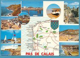 LA COTE D'OPALE - PAS-DE-CALAIS - Carte Géographique Multivues Blason - Maps