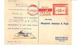 1956 Affrancatura Meccanica Rossa EMA Freistempel Torino EMANUEL Impianti Di Sollevamento Industriale - Affrancature Meccaniche Rosse (EMA)