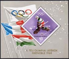 Hungary, 1967, Olympic Winter Games Grenoble, Ice Hockey, MNH Imperforated, Michel Block 62A - Hungary